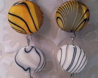 Zebra striped coin earrings