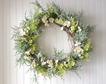 Summer wreath with white florals and eucalyptus. Wreath for summer. wreath for door. summer door wreath.