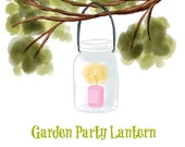 Lantern in Tree Branch - Original art download 2 files, Wedding, Garden, lantern clip art