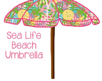 Preppy Sea Life Beach Umbrella -  Original Art - preppy beach umbrella, beach umbrella art