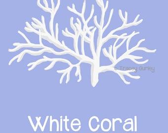 WhiteCoral, style 1  on Transparent Background- Original art download, white coral clip art, beach art, coral clip art