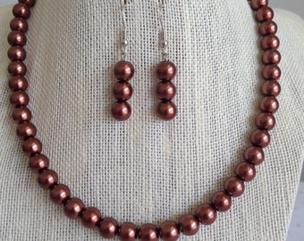 Brown Pearl Wedding Necklace, Brown Bridal Jewelry Set, Fall Wedding Jewelry, Brown Beaded Jewelry, Brown Bridesmaid Jewelry Gift