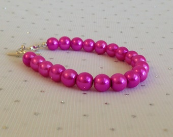 Pink Bracelet, Pink Wedding Jewelry, Bridesmaid Jewelry, Bridesmaid Gift, Pink Wedding, Fuchsia Bracelet, Pink Pearl Bracelet