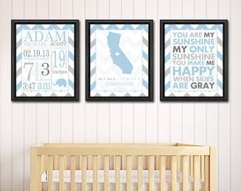 baby boy birth announcement subway art birth announcement chevron new mom gift new baby print baby stats art blue gray baby wall decor