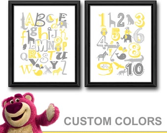 alphabet nursery decor with animals, alphabet ABC nursery art, grey yellow animal alphabet nursery, playroom art, kids wall art numbers