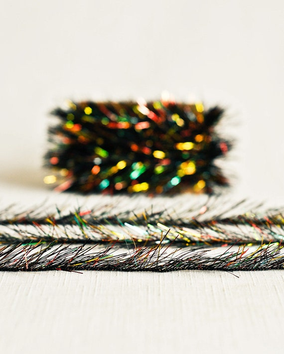 Tinsel twine in black rainbow yards holiday ribbon cord