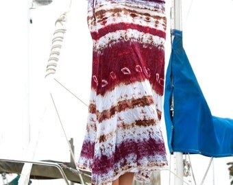 RAYON tie dye boho beach festival resort all season berry and silver maxi skirt with side drawstring