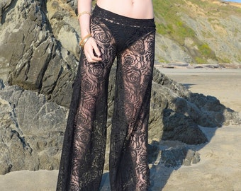 BLACK ROSE LACE floral sexy boho resort festival beach gypsy wide leg flare palazzo pants with shorts liner (optional)
