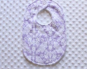 Purple Damask Baby Bib // Baby Girl Bib // Newborn Girl Bib // Toddler Girl Bib // Purple Bib // Damask Bib // Shower Gift // New Mom Gift