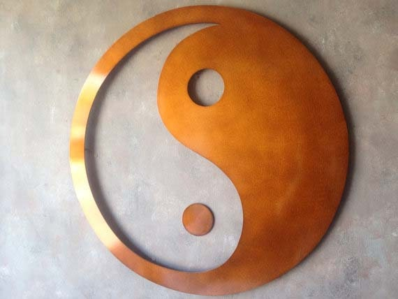Giant yin yang metal wall art bronze art by inspiremetals for Decoration murale yin yang
