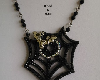 SALE Gothic Spiderweb Crystal Charm Necklace