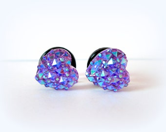 Pretty Purple Geometric Sparkle Heart Plugs - Available in 4g, 2g, and 0g