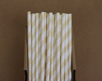 25 ivory striped straws (PS0008)  - beige party straws - with printable DIY flags