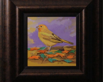 Original Painting of yellow finch with purple background.