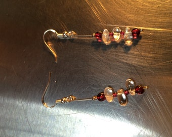 Ruby, Clear Teardrop, and Glass Beads and Sterling Silver French Hook Dangling Earrings