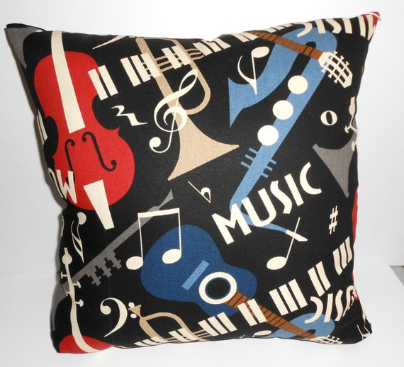 Music Pillow Handmade Music Throw pillow 17 X 17 inch square