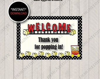 DIY Printable Welcome- Thank you for popping in wrapper- Popcorn Wrapper- School-Instant Download