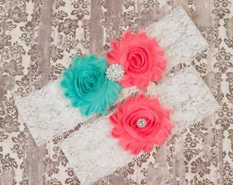 Bridal Garter Sets, Coral & Aqua Wedding Garter, Bridal Garter, Lace Garter, White Lace Garter, Bridal gifts, Toss Garter, Keepsake Garter,