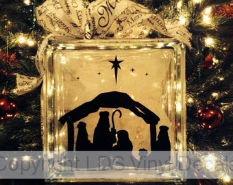 Nativity - Christmas Vinyl Lettering for Glass Blocks - Holiday Craft Decals - Baby Jesus