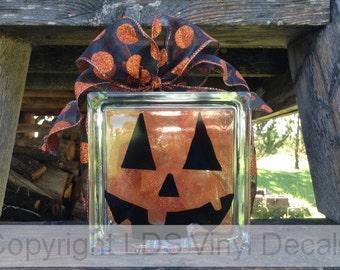 Pumpkin/Jack o' Lantern Face - Halloween Vinyl Lettering for Glass Blocks - Craft Decals