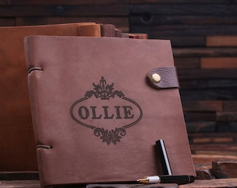 Personalized Monogrammed Engraved Notebook Leather Travel Diary Sketchbook Journal (024319)