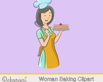 Woman Baking - Clipart