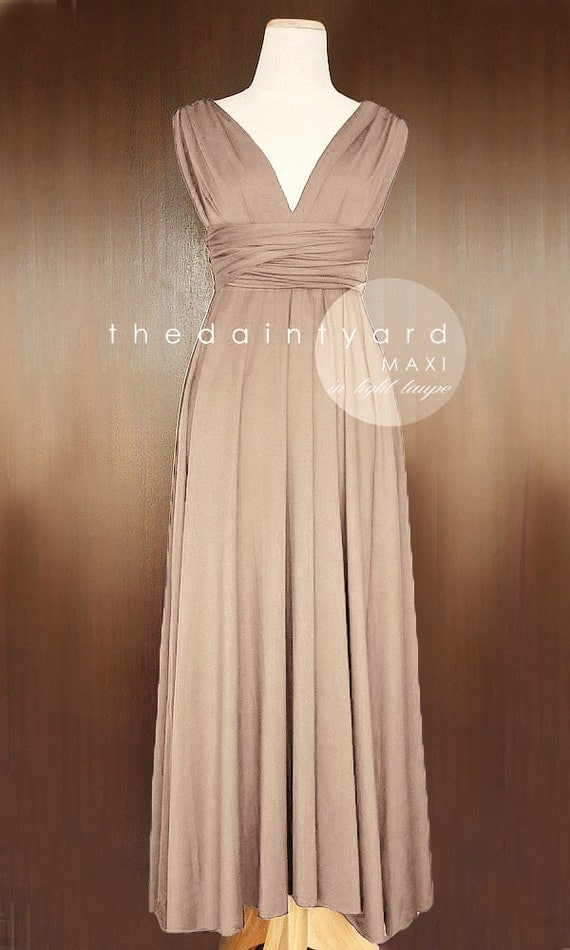 MAXI Light Taupe Bridesmaid Dress Convertible By Thedaintyard