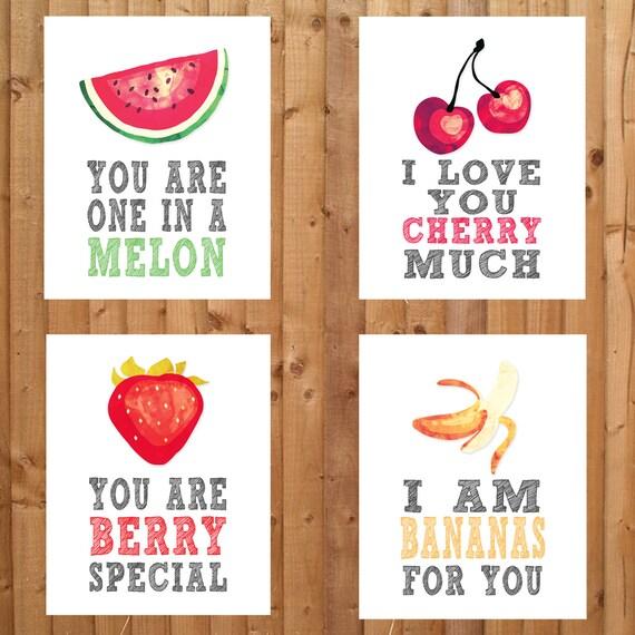 Nursery prints fruit theme wall decor watermelon cherries - Fruit kitchen decorating theme ...