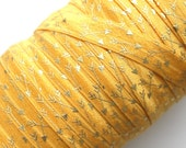"5/8"" Fold Over Elastic Gold Arrows on Golden - Pattern, Metallic, Shiny FOE, Printed"