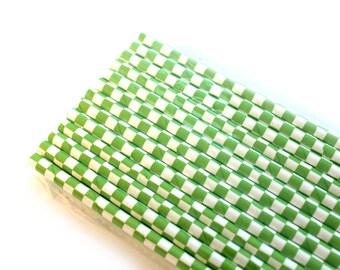 Green Checker Paper Straws (25) - Party Paper Straws, Drinking Straws