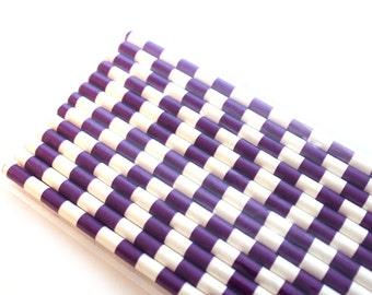 Dark Purple Horizontal Stripes Paper Straws (25) - Party Paper Straws, Drinking Straws