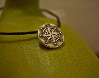 Silver Stamped Compass Pendant