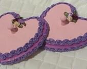 Wall Hanging, Peg Hooks, Wooden Hearts, Pink Peg Racks, Heart Shaped Pegs - by FairyLace Designs Wall Decor