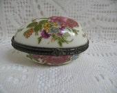 Vintage Egg Shaped Trinket Box Porcelain Ring Box Floral