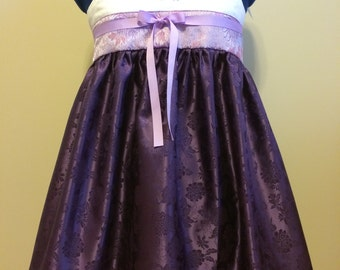 Hanbok style dress. Knee-length, purple dress with lace trim and lavender chrysanthemum brocade bodice. Korean lolita, hanloli. Cosplay.