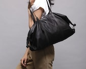 Black  leather bag- Big sholder bag- Travel bag- Large Tommy bag - LadyBirdesign