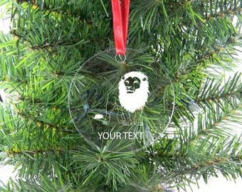Personalized Custom Lion Clear Acrylic Christmas Tree Ornament with Ribbon