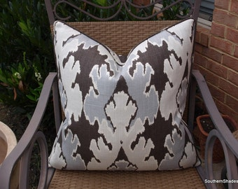 One or Both Sides - ONE High End Kelly Wearstler Bengal Bazaar Graphite Pillow Cover with Self Cording