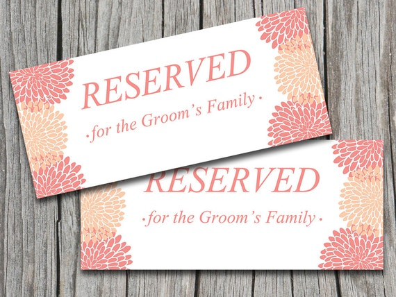 items similar to wedding reserved sign template peach coral chrysanthemum wedding microsoft. Black Bedroom Furniture Sets. Home Design Ideas