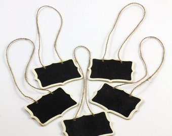 SALE - Set of 5  - Mini Chalkboard Hanging Tags - Cottage Chic - Package embellishment  - Gift Tags Favor Tags - DearSeed