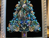 CUSTOM ORDER Framed Vintage Jewelry Christmas Tree Theme Peacock Blue Purple Aqua Locket Flowers Repurposed Collage Art SunnyDayVintage.com