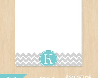 Personalized Sticky Note // Chevron with Circle Monogram Initial