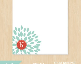 Personalized Sticky Note // Teal Blooming Blossom with Monogram Initial // S100-1