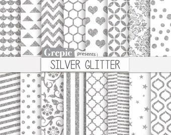 "Silver glitter digital paper: ""SILVER GLITTER"" patterns backgrounds chevron, polkadots, stripes, geometric, quatrefoil, hearts / sparkles"