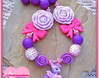 My little pony necklace, Sky Wishes, bubblegum necklace, chunky girls' necklace