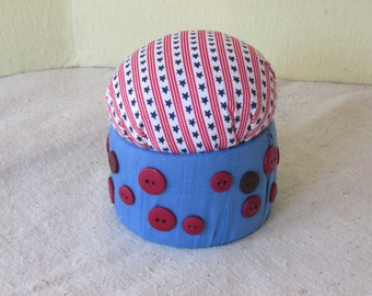 Fabric Wrapped Pincushion - Light Blue w/ Red Buttons and Stars and Stripes Top
