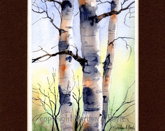 ORIGINAL WATERCOLOR MATTED - 8 x 10 single mat, birches, art, nature