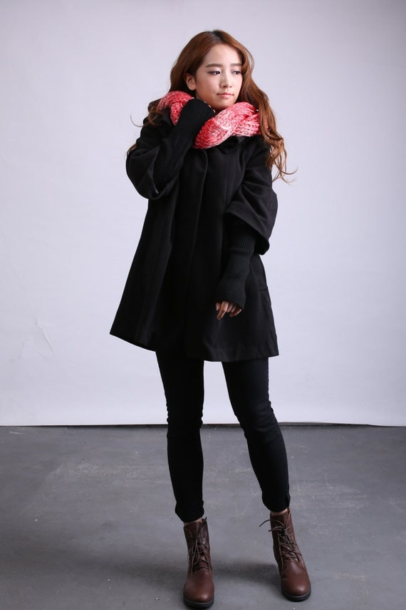 Trendy Cape Top Fashion Looks With Jeans Idea: Items Similar To Black Cape Wool Coat Trendy Winter Coat