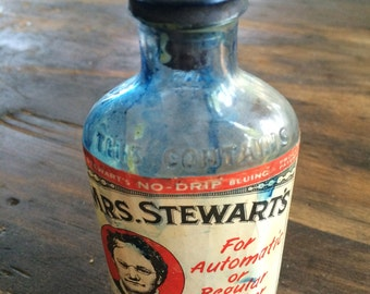 Vintage Bottle - Mrs. Stewart's Liquid Bluing 4 oz Clothes Bleach