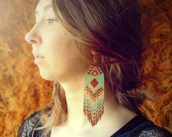 Long Beaded Fringe Earrings